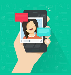 online video call on smartphone flat vector image