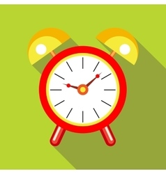 Red alarm clock icon in flat style vector image
