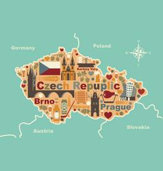 stylized map of czech republic vector image