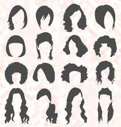 Womans Hair Style Silhouettes vector image vector image