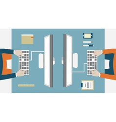Flat concept of business workflow vector image vector image