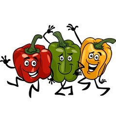 peppers vegetables group cartoon vector image vector image
