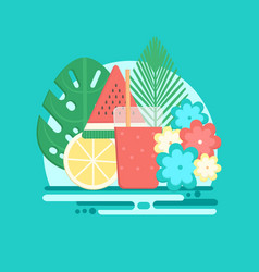 tropical cocktails with fresh fruits in flat style vector image