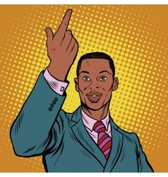 African American businessman pointing finger up vector image vector image