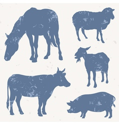 Farm animals with grunge effect vector image vector image