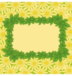 Frame of leaves and flowers vector image vector image