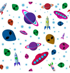 Seamless pattern space thematics vector image