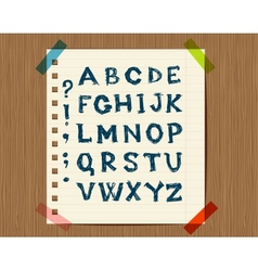 Sheet with sketch of letters symbols for your vector image vector image