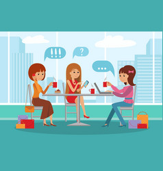 three beautiful women talking at coffee shop while vector image