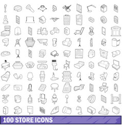 100 store icons set outline style vector image vector image