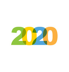 2020 new year phrase overlap color no vector image