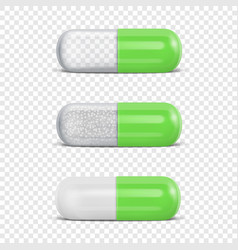 3d realistic green medical pill icon set vector image
