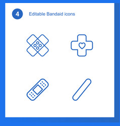 4 bandaid icons vector