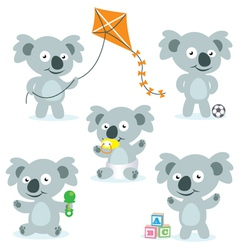 5 cute cartoon koalas vector image