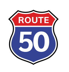 50 route sign icon road highway vector