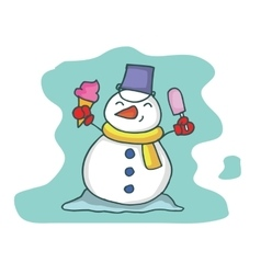 art of snowman with ice cream vector image