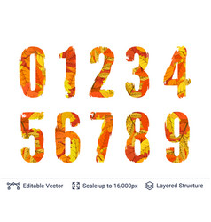 autumn fall bright numbers collection vector image