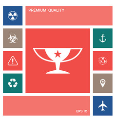 awards champions cup icon with star elements for vector image