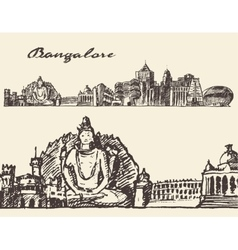 Bangalore engraved hand drawn sketch vector image