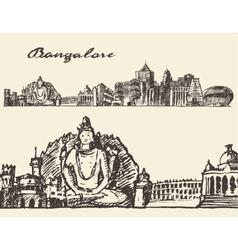 Bangalore engraved hand drawn sketch vector image