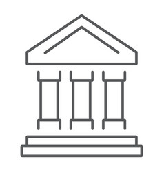 bank building thin line icon finance and banking vector image