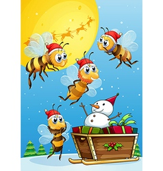 Bees watching the snowman riding on a sleigh vector