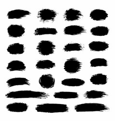 big collection black paint ink brush strokes vector image
