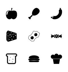 black food icon set vector image