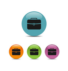 briefcase icon on colored bubbles and white vector image