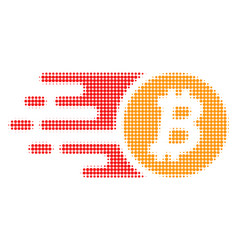 Btc coin halftone dotted icon with fast rush vector