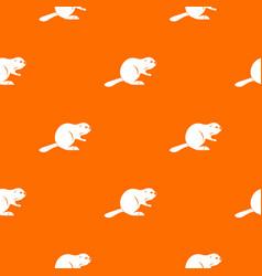 Canadian beaver pattern seamless vector