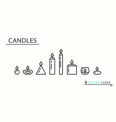 Candles set icons vector