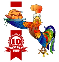 Cartoon cheerful rooster with grilled chicken vector
