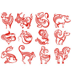 Chinese zodiac animals in paper cut style vector