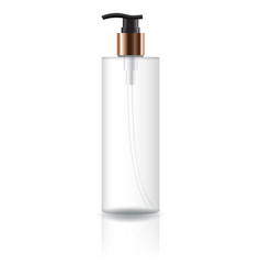 Clear cosmetic cylinder bottle with pump head vector