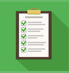 clipboard with checklist on green flat of vector image