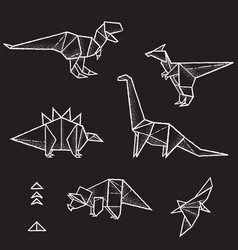 collection six hand drawn origami vector image