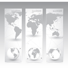 Collection vertical banner design World Map and vector
