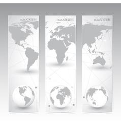 Collection vertical banner design world map vector