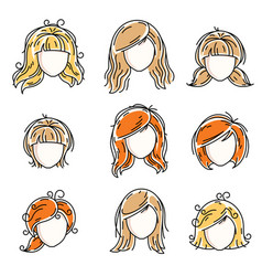 collection women faces human heads diverse vector image