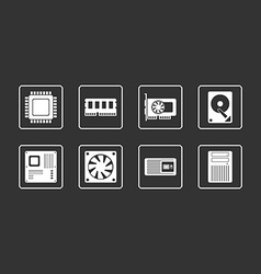 Computer Hardware Web Icons Set vector image