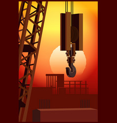 construction crane at sunset vector image
