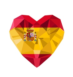 Crystal gem jewelry spanish heart with the flag of vector