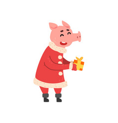 cute little pig character dressed in santa costume vector image