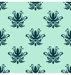 Cyan floral seamless pattern vector image