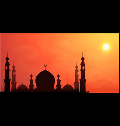 dark mosque silhouette on hot sun orange sky vector image
