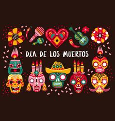 day dead poster decorative skulls guitar vector image