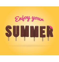 Enjoy your sumer ice cream lettering vector