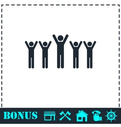 Fans icon flat vector