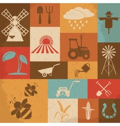 Farming retro icons vector image
